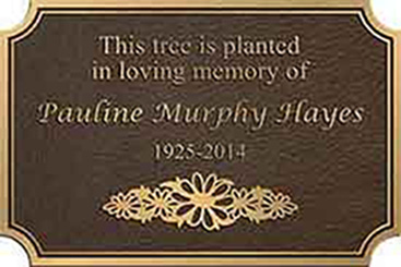 bronze memorial plaque with custom inverter double line border