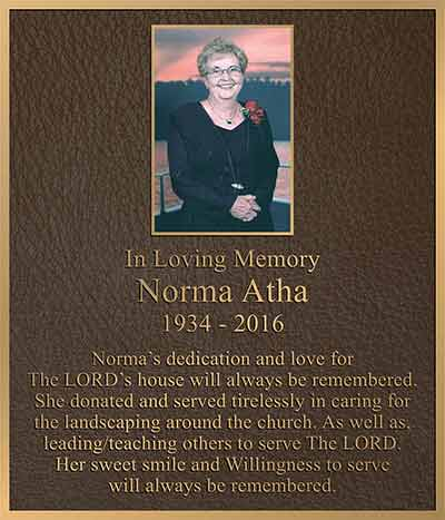 color photo bronze memorial plaques