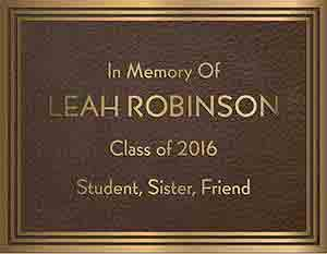 triple line border cast bronze memorial plaques