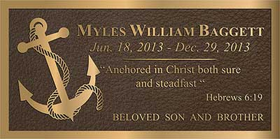 anchor bronze memorial plaque,