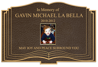 custom shape bronze memorial plaque full color photo