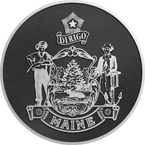 maine Aluminum State Seal, cast metal state seal maine